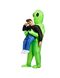 Alexsix Inflatable Green Alien Carrying Human Costume, Inflatable Scary Funny Blow Up Suit Cosplay for Woman Adult Masquerade Halloween Party Festival Stage Performance