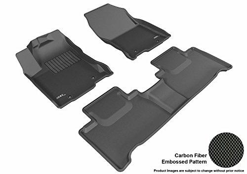 3D MAXpider Complete Set Custom Fit All-Weather Floor Mat for Select Lexus NX/ NX Hybrid Models - Kagu Rubber (Black) (Custom Fit All Weather Car Floor Mats)