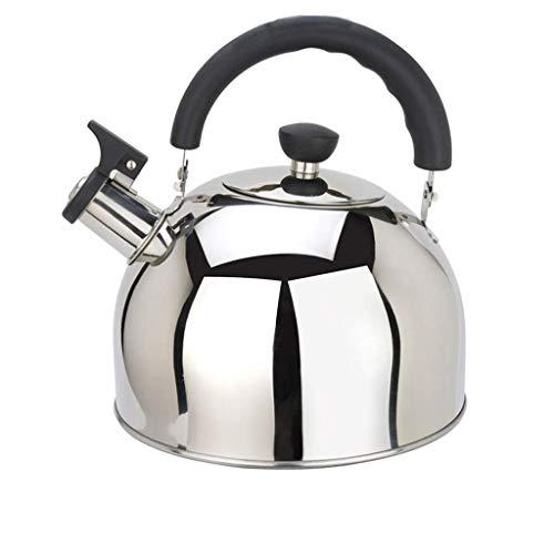 LiTing Kettle Whistle Kettle 304 Acero Inoxidable Inferior Plana Cocina de Inducción Estufa de Gas Gas Vintage Gran Olla Única Pequeña Tetera Inicio (Color ...