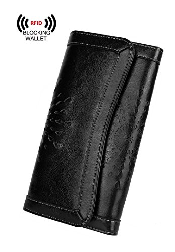 YALUXE Women's RFID Blocking Security Leather Large Capacity Trifold Clutch Wallet Light Black by YALUXE