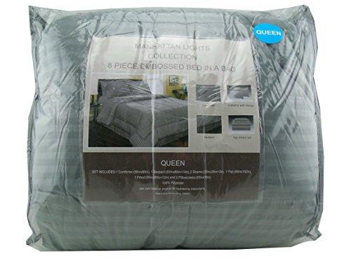 Manhattan Lights Collection Queen 8 piece Embossed Bed Comforter Set (Grey-Blue)