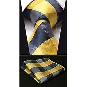 """Dan Smatree Yellow Check 3.4"""" Silk Woven Men Tie Necktie Handkerchief Set"""