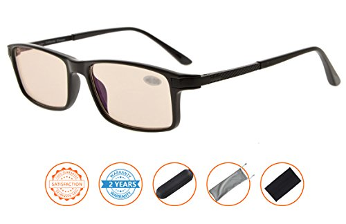 Reduces Eyestrain,Anti Blue Rays,UV Protection,TR90 Frame,Spring Hinges Gaming Reading Glasses(Black,Amber Tinted Lenses) without - Prescription Glasses Without Frames