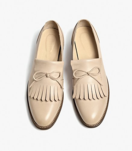 Women's Flats Loafer Honeystore Solid apricot Leather Fringed Shoes Tassels Color fAwwdq
