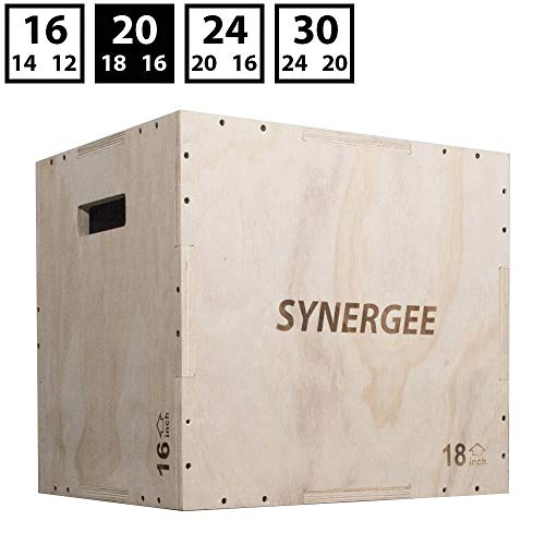 Synergee 3 in 1 Wood Plyometric Box for Jump Training and Conditioning. Wooden Plyo Box All in One Jump Trainer. Size - 20/18/16