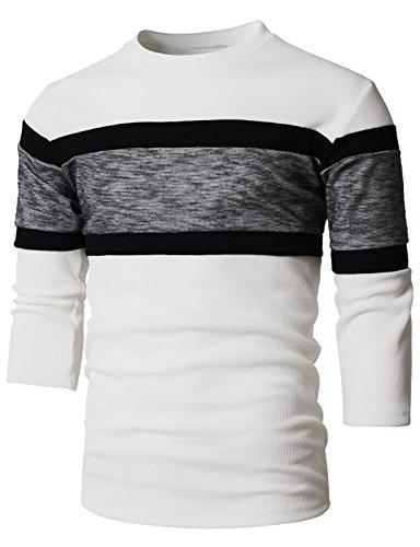 H2H Men's Contrast Color Crew Neck Long Sleeve Casual T-Shirt Top White US L/Asia XL - Crew Collar Contrast T-shirt