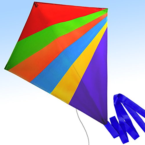 Chipmunkk Cool Diamond Kite Kids Adults Boys Girls Beach Outdoors Large Flying Kites Rainbow Colors Kit String Tail Simple to Assemble Ready to Fly Toys 2018 Upgraded Edition