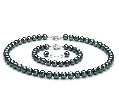 Noir 7.5-8mm AAA-qualité Akoya du Japon 925/1000 Argent-un set en perles