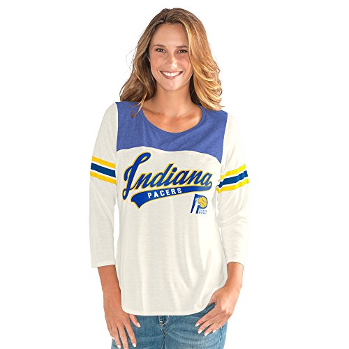 GIII For Her NBA Indiana Pacers Women's End Zone 3/4 Sleeve Tee, XX-Large, Vintage White