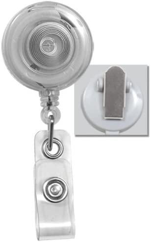 25 Pack Translucent Badge Reels with Swiveling Alligator Clip by Specialist ID