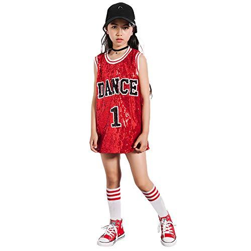 Girls Sequins Costume Hip Hop Dancewear Sparkle Sleeveless Tank Top Dress (Red, 14-16)]()