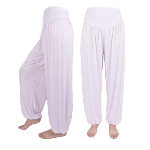 Pluderhose Cintura Alta Mujer Libre Elásticos Yoga Harem Blanco Linterna  Sólido Verano Elegantes Tiempo Anchas Cómodo Pantalones Mujeres Casuales  Color Moda ... 74dee55b9346