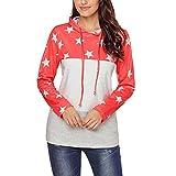 Kobay Women Sweatshirt Top, Ladies' Long Sleeve Star Print Patchwork O Neck Sweatshirt Casual Hooded Blouse Tops