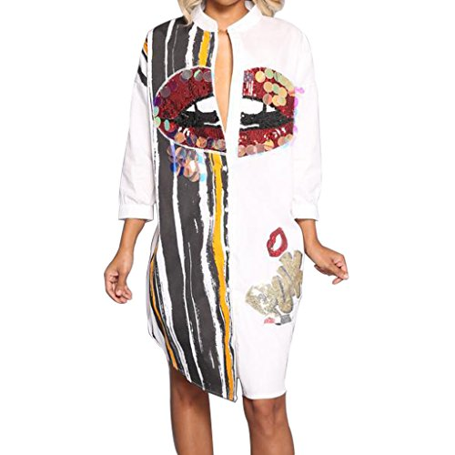 Women Sexy Graphic Sequin Long Sleeve Button Down Shirt Dress Casual Boyfrined Long Blouse Top White L
