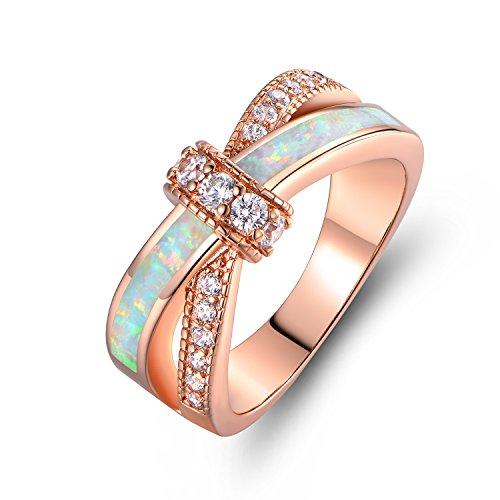 Barzel Rose Gold Plated Created Fire Opal & CZ Crisscross Engagement Ring (6) ()