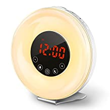 COULAX Wake Up Light Sunrise Alarm Clock 6 Nature Sounds and 7 Color Lights Alarm Clock Bedside Lamp Night Light with FM Radio and Snooze Function