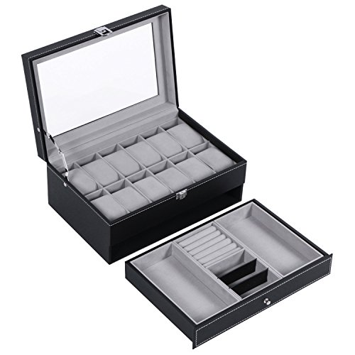 BEWISHOME Watch Box Organizer Case 12 Mens Jewelry Display Drawer w/Adjustable Tray Glass Top Black PU Leather SSH02B by BEWISHOME (Image #8)