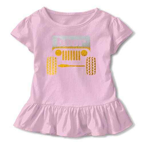 (Jeep Beer Ruffled Tshirt Short Sleeve Kids Birthday Gift 2-6T Pink)
