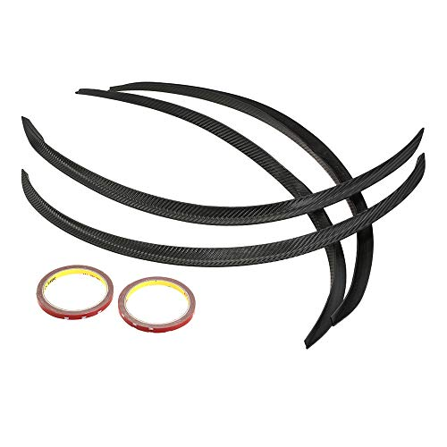 Tickas Car Wheel Eyebrow,4PCS Carbon Fiber Car Wheel Eyebrow Arch Trim Lips Strip Fender Flare Protector