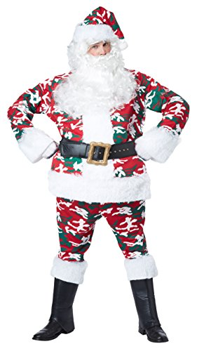 California Costumes Men's Camo Santa Suit, Red/White/Green, X-Large -