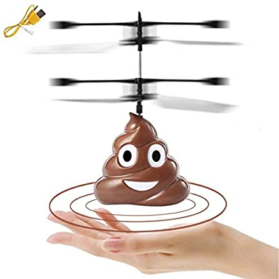 Flying Toys Hovering Emoji Poo Copter, Boys Girls Toys Funny Gifts, Rechargeable Infrared Induction Helicopter Drone, Indoor Outdoor Games Kids