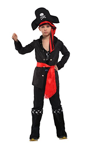 Four Star Pirate Hat - Spooktacular Boys' Carribean Pirate Costume Set with Shirt, Pants, Hat, Belt, L