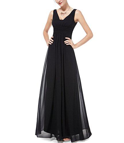 Habiller Robes De Soirée Jamais Joli Ep08110 Élégant Buste Noir Profond Col V Froncé Maxi Femme Robes De Soirée Noire