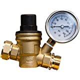 Adjustable Water Pressure Regulator - Lead-free Brass Adjustable Water Pressure Reducer for RV with Gauge and Inlet Screened Filter