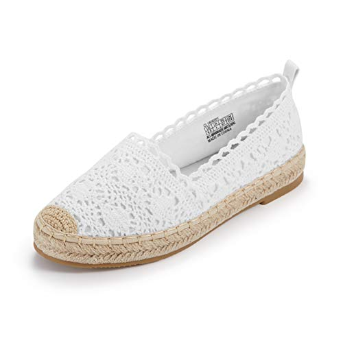 Espadrille Sneakers for Women: Hollow Canvas Casual Flats Classic Slip-On Comfortable Shoes (7.5 B(M) US (24CM), White)