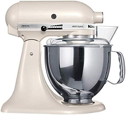 KitchenAid 5KSM150PSELT - Robot de cocina, motor de 300 vatios, capacidad de 5 l, 10 velocidades, 61 dB, color beige: Amazon.es: Hogar
