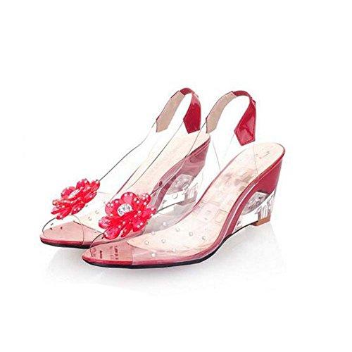 Angelliu Mode Bohemmian Été Clair Gelée Peep-toe Fleur Wedges Sandales Rouge