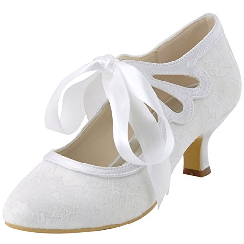 ElegantPark HC1521 Women's Mary Jane Cut Out Closed Toe Low Heel Pumps Lace Wedding Dress Shoes White US 11