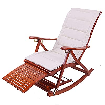 LIXIONG Outdoor Rocking Bamboo Armchairs With Headrest