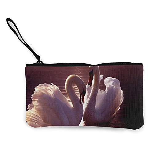Coin Purse White Swan Zip Canvas Purses TravelSpecial Holder