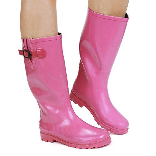 Twisted Frauen Drizzy Tall Cute Gummiregen Stiefel Rosa