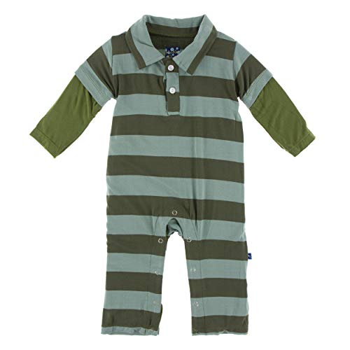 Kickee Pants Little Boys Print Long Sleeve Double Layer Polo Romper - Paleontology Fauna Stripe, 6-12 Months