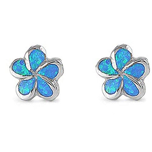 Lab Created Blue Opal Plumeria .925 Sterling Silver (Plumeria Flower Diamond Earrings)