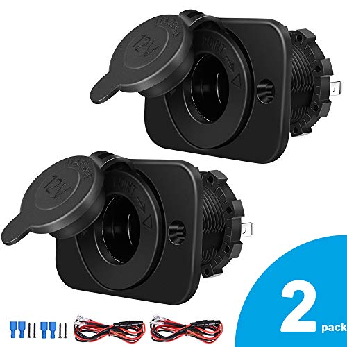 2-Pack Cigarette Lighter Socket, 12V Power Outlet Receptacle for Car Marine Motorcycle ATV RV, with Wire Fuse DIY Kit by Riseuvo