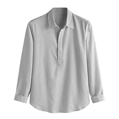 - TUSANG Men Tees Baggy Stripe Cotton Linen Long Sleeve Button Plus Size T Shirts Tops Slim Fit Comfy Tunic(Gray,US-8/CN-L)