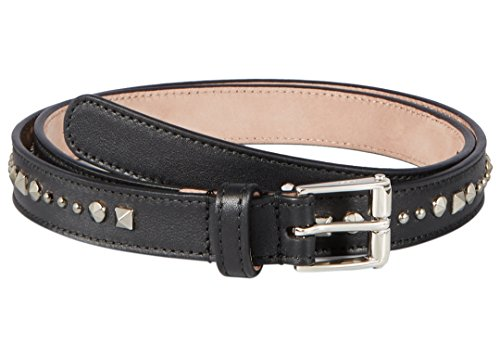 Gucci Women's Black Studded Leather Slim Belt, 34, Black by Gucci