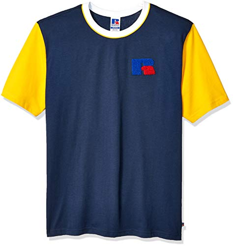 Russell Athletic Heritage Men's Color Block Chenille Badge T-Shirt, Navy, X-Large (Chenille Color)