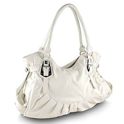 Belted Hobo Handbag (White)