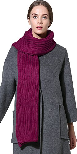(Women Men Winter Thick Cable Knit Wrap Chunky Warm Scarf All Colors Plum)
