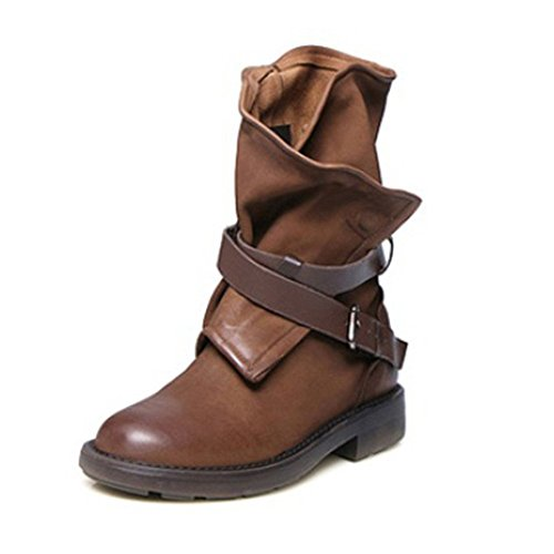 Xiakolaka Women Mid-Calf Boots Fashion Buckle Riding Boot Brown US8.5 by Xiakolaka