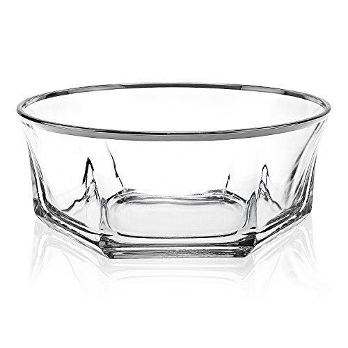 Elegant Luxury Crystal 7 Piece Serving Salad Bowl Set with Silver Trim. 1 Large and 6 Small. Made of Fine Imported Glass. by Le'raze (Image #1)