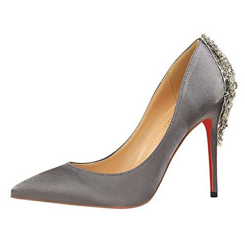 Europeo gray YMFIE SEXY diamante in e appuntita elegante tacco DONNA Silver stile raso scarpe alto In SCARPE sottile TqgrUqE
