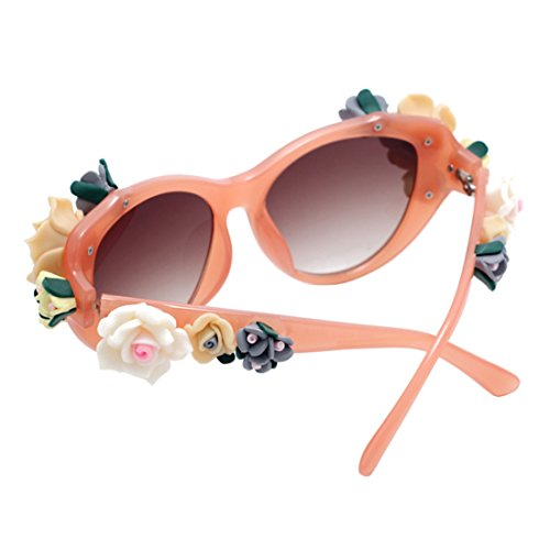 Playa gafas gafas Flores rosas Naranja Mujeres mujer Oval moda verano Sunglasses Inlefen Cat Eye wxaqpp4S