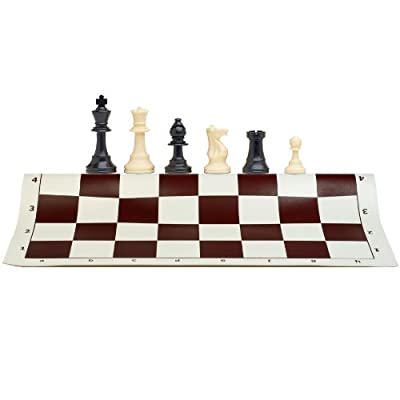 Best Value Tournament Chess Set - 90% Plastic Filled Chess Pieces and Brown Roll-Up Vinyl Chess Board