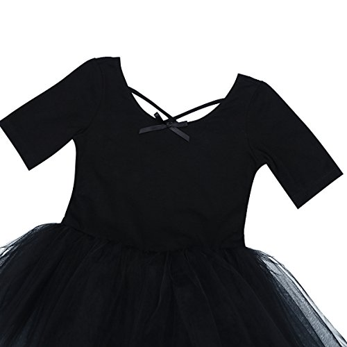 e43d946b3d4f CHICTRY Girls  Short Sleeves Back Detailing Ballet Tutu Leotard ...