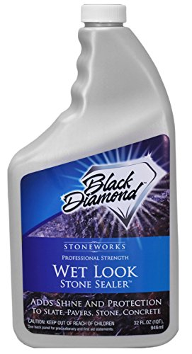 Black Diamond Stoneworks Wet Look Natural Stone Sealer Provides Durable Gloss and Protection to: Slate, Concrete, Brick, Sandstone, Driveways, Garage Floors. Interior or Exterior. 1 QT (Patio Sealing Paver)